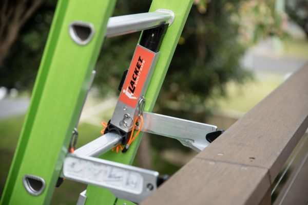 The Lacket locks your ladder in place, and prevents an extension ladder from filling sideways or backwards